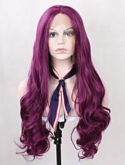 女性のための長い人工毛レースのフロント紫かつら紫自然波状安く高品質の耐熱性合成グルーレスなウィッグ