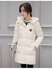 Dámské Standardní Dlouhý kabát Jednoduché Běžné/Denní Jednobarevné-Kabát Jiné Prachové kachní peří bílé Dlouhý rukáv