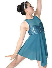 Ballet Kjoler Dame Børn Ydeevne Nylon Spandex Palliet-belagt Lycra Draperet Med Pailletter 2 Dele Ærmeløs Naturlig Kjole hovedbeklædning