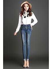 Damer Kineserier Mikroelastisk Ret Jeans Bukser,Højtaljede Farveblok