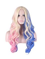 peruca cosplay Sintético Sem Touca perucas Longo Azul Cabelo