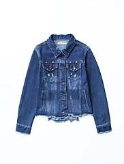 Feminino Jaqueta jeans Para Noite Casual Moda de Rua Primavera Outono,Sólido Padrão Algodão Poliéster Colarinho de Camisa Manga Longa