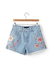 Damer Gade Mikroelastisk Løstsiddende Tynd Jeans Shorts Bukser,Højtaljede Broderi Ensfarvet Broderi