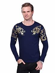 Masculino Camiseta Casual Tamanhos Grandes Simples Primavera Outono,Estampado Algodão Elastano Decote Redondo Manga Longa Média