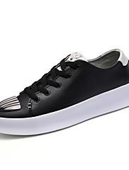 Masculino sapatos Courino Outono Inverno Conforto Tênis Cadarço Bico Metálico Para Atlético Casual Branco Preto