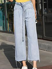 Ženske Wide Leg Jednostavan Visoki struk Mikroelastično Traperice Hlače Jednobojni