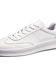 Masculino sapatos Couro Ecológico Primavera Outono Conforto Tênis Cadarço Para Casual Branco Preto Vermelho
