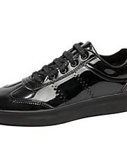 Herrer Sko PU Forår Efterår Komfort Sneakers Snøring Til Afslappet Sort Sølv