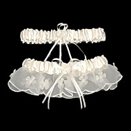 Garter Satin Beading / Ribbon White
