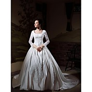 Ball Gown Plus Sizes Wedding Dress - Ivory Cathedral Train Square Satin