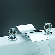 CLEARANCE - Two Handles Chrome Widespread Waterfall Bathtub Faucet (0698 -Y3-8015)