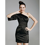 TS Couture® Cocktail Party / Holiday Dress - Little Black Dress Plus Size / Petite Sheath / Column One Shoulder Short / Mini Charmeuse