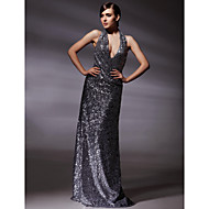 TS Couture® Formal Evening / Military Ball Dress - Silver Plus Sizes / Petite Sheath/Column Halter / V-neck Floor-length Sequined