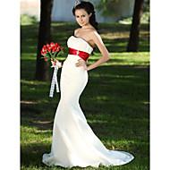 Lanting Trumpet/Mermaid Plus Sizes Wedding Dress - Ivory Sweep/Brush Train Strapless Satin