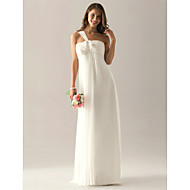 Floor-length Chiffon Bridesmaid Dress - Ivory Plus Sizes / Hourglass / Pear / Misses / Petite / Apple / Inverted Triangle / Rectangle