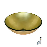 Golden Round Tempered glass Vessel Sink With Mounting Ring and Water Drain(0888-BLY-6470)