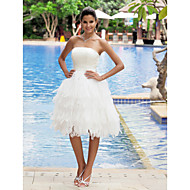A-line Plus Sizes Wedding Dress - Ivory Knee-length Strapless Satin/Organza