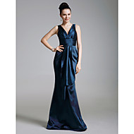 TS Couture Formal Evening / Military Ball Dress - Dark Navy Plus Sizes / Petite Trumpet/Mermaid V-neck Floor-length Stretch Satin / Satin