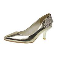 Elegant Leatherette Upper Low Heel Closed Toe With Rhinestone Beading Wedding/ Party Shoes