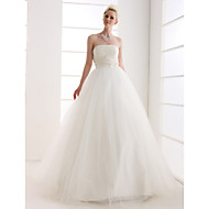 Lanting Ball Gown Plus Sizes Wedding Dress - Ivory Floor-length Strapless Tulle