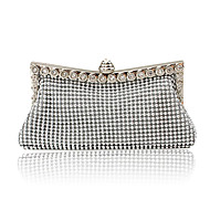 Women Bags All Seasons Satin Evening Bag with Crystal/ Rhinestone for Event/Party Gold Black Silver