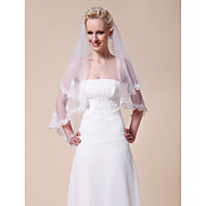 Beautiful Two-tier Fingertip Length Wedding Veil With Lace Applique Edge