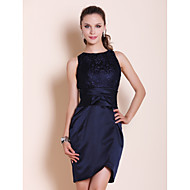 Homecoming Cocktail Party/Wedding Party Dress - Dark Navy Plus Sizes Sheath/Column Bateau Short/Mini Satin/Lace