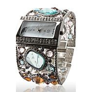 Amazing Women's Silver Bracelet Watch with Graceful Multi Color Diamond Decoration