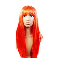 korkiton pitkä korkealaatuinen synteettinen kaunis punainen puku osapuoli peruukki