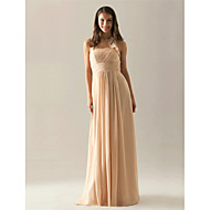 Floor-length Chiffon Bridesmaid Dress - Plus Size / Petite A-line Halter
