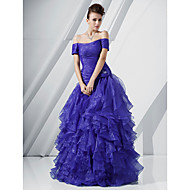 A-line Off-the-shoulder Floor-length Organza Evening/Prom Dress