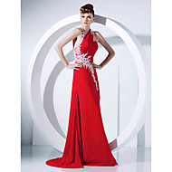TS Couture® Prom / Formal Evening Dress - Elegant Plus Size / Petite A-line / Princess Halter Sweep / Brush Train Chiffon withAppliques / Side