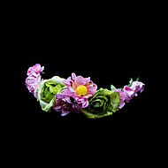 Pink Daisy And Green Rose Flower Girl Garland/Headpiece