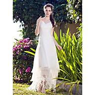 Lanting Bride A-line / Princess Petite / Plus Sizes Wedding Dress-Asymmetrical V-neck Organza