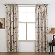 Two Panels Country Floral / Botanical Multi-color Bedroom Polyester Panel Curtains Drapes