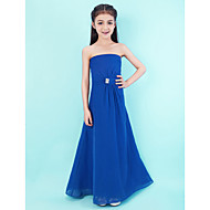 Vloer Lengte Doek Junior bruidsmeisjesjurk - Koningsblauw A-Lijn Strapless