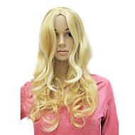 korkiton pitkä synteettinen viehättävä blondi kihara peruukki