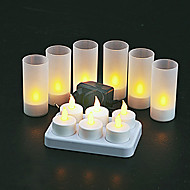 6 kpl lämmin keltainen LED ladattava liekittömän tee valo kynttilät