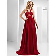 Formal Evening/Prom Dress - Ruby Plus Sizes A-line/Princess Straps/V-neck Floor-length Chiffon/Tencel