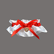 Garter Satin / Polyester Rhinestone / Sweetheart Red