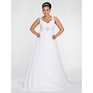 Lanting Bride® A-line Petite / Plus Sizes Wedding Dress - Chic & Modern Fall 2013 Chapel Train V-neck Chiffon with
