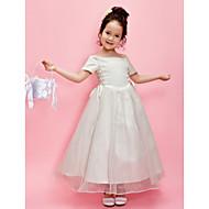 Lanting Bride A-line / Princess Ankle-length Flower Girl Dress - Organza / Satin Short Sleeve Off-the-shoulder withBeading / Sash /