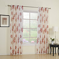 Country Two Panels Floral  Botanical Red Bedroom Polyester Sheer Curtains Shades