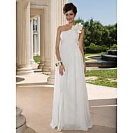 Lanting Bride® Sheath / Column Petite / Plus Sizes Wedding Dress - Chic & Modern See-Through Wedding Dresses Floor-length One Shoulder