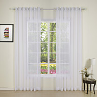 White Print Enoch Modern Sheer Curtain (Two Panels)