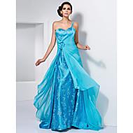 Prom/Formal Evening Dress - Pool Plus Sizes A-line/Princess One Shoulder/Sweetheart Sweep/Brush Train Chiffon/Stretch Satin