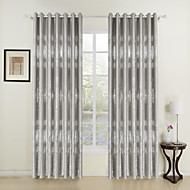 One Pair  Grace Silver Print Room Darkening Curtain