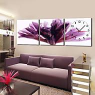 modernen floralen lila Wanduhr in Segeltuch 3pcs