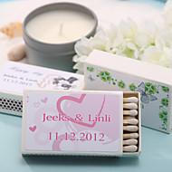 décoration de mariage boîtes d'allumettes personnalisés - coeurs roses (jeu de 12)