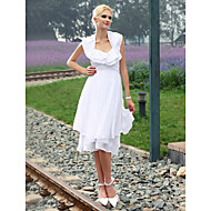 Lanting Sheath/ Column Halter Knee-length Chiffon Wedding Dress